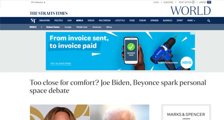 The Straits Times: Too close for comfort? Joe Biden, Beyonce spark personal space debate