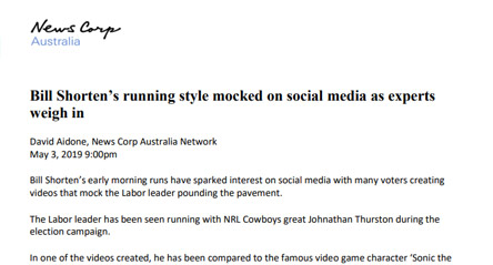 News Corp: Bill Shorten's running style mocked on social media as experts weigh in