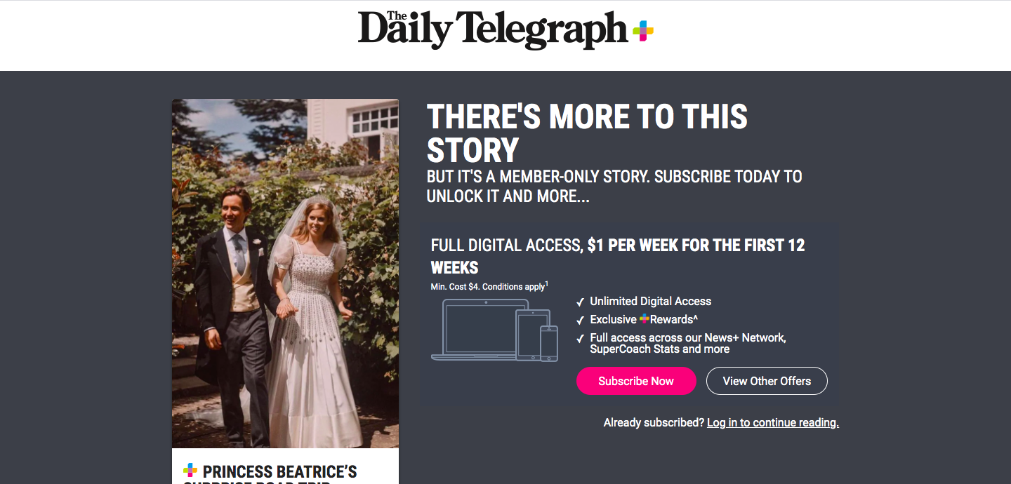 The Daily Telegraph: PRINCESS BEATRICE'S SURPRISE ROAD TRIP HONEYMOON