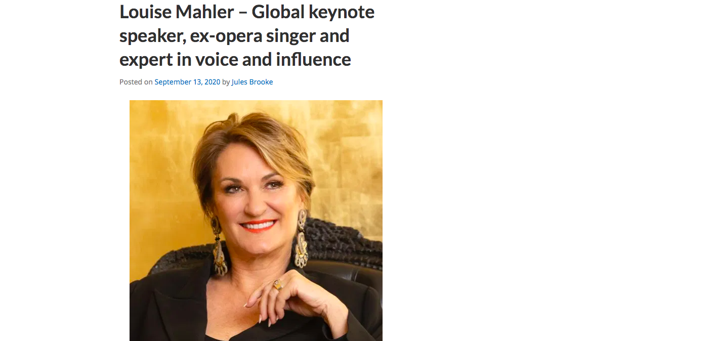 Louise Mahler – Global keynote speaker, ex-opera singer and expert in voice and influence