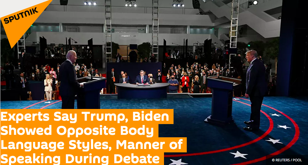 Experts say Trump, Biden showed opposite body language styles, manner of speaking during debate.