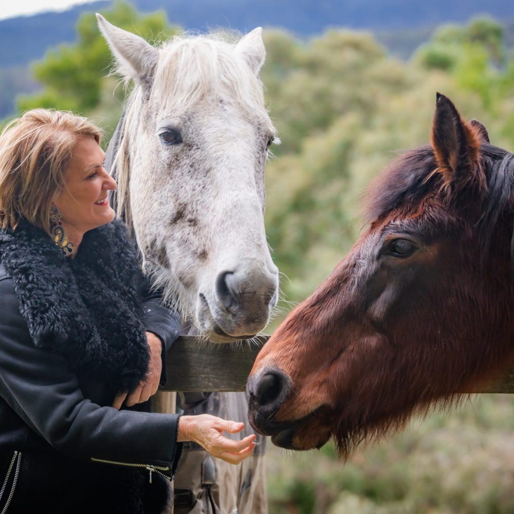 Dr Louise Mahler at Kanagroo Manor with horses